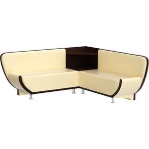 Кухонный диван Мебелико Лотос эко-кожа бежево-коричневый угол правый цена