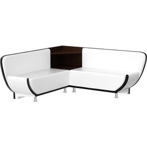 Кухонный диван Мебелико Лотос эко-кожа бело-черный угол левый цена