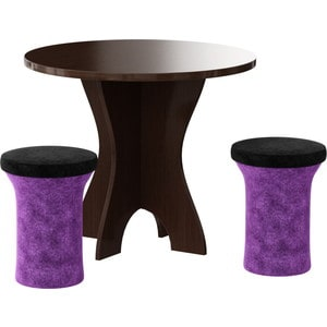Обеденная группа АртМебель Лотос микровельвет фиолетово-черный цены онлайн