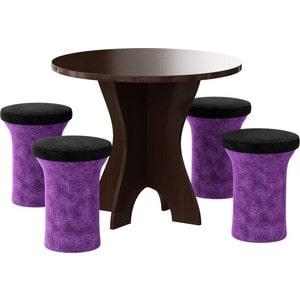 Обеденная группа Мебелико Лотос микровельвет фиолетово-черный, 4-пуфа