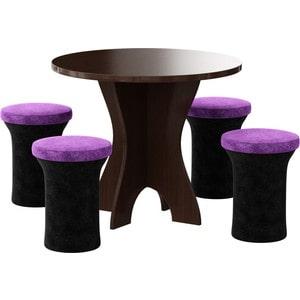Обеденная группа Мебелико Лотос микровельвет черно-фиолетовый, 4-пуфа