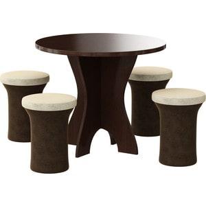 Обеденная группа Мебелико Лотос микровельвет коричнево-бежевый, 4-пуфа