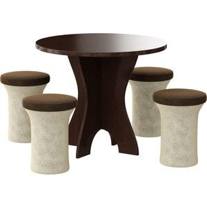 Обеденная группа Мебелико Лотос микровельвет бежево-коричневый, 4-пуфа цены онлайн