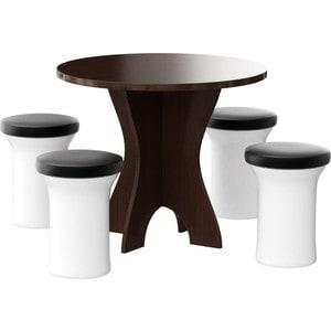 Обеденная группа Мебелико Лотос эко-кожа бело-черный, 4-пуфа кушетка мебелико принц эко кожа бело черный левый