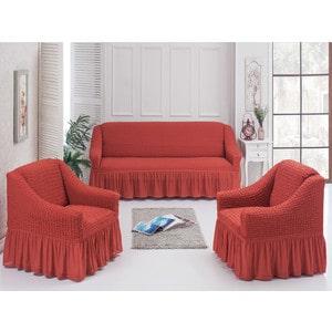 Набор чехлов для мягкой мебели 3 предмета Juanna терракотовый (7565терракотовый)