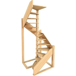 Лестница деревянная ЛЕСЕНКА ЛЕС-1,2 винтовая универсальная (ЛЕС-1,2-ВУ)
