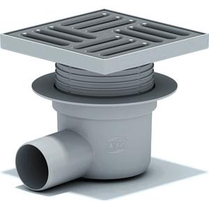 Душевой трап АНИ пласт 15х15/50 горизонтальный, регулируемый, мокрый затвор, решетка из нерж. стали (TA5612)