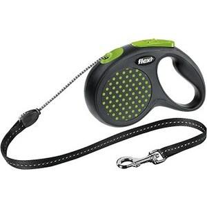 Рулетка Flexi Design М трос 5м черный/зеленый горох для собак до 20кг