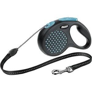 Рулетка Flexi Design М трос 5м черный/синий горох для собак до 20кг