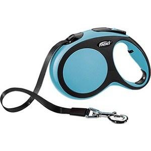 Рулетка Flexi New Comfort L лента 8м черный/синий для собак до 50кг поводок рулетка усиленная пижон 8м красная