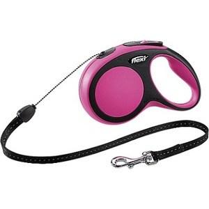 Рулетка Flexi New Comfort S трос 5м черный/розовый для собак до 12кг цена и фото