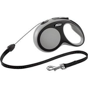 Рулетка Flexi New Comfort S трос 5м черный/серый для собак до 12кг