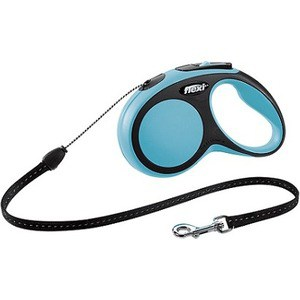 Рулетка Flexi New Comfort S трос 5м черный/синий для собак до 12кг цена и фото