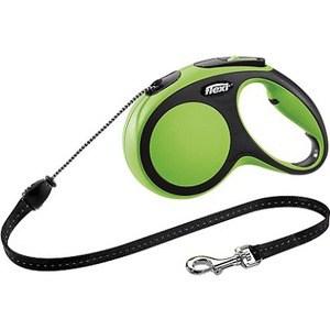 Рулетка Flexi New Comfort М трос 5м черный/зеленый для собак до 20кг цена и фото