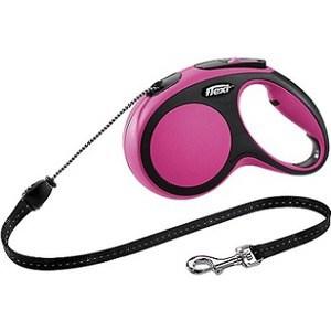 Рулетка Flexi New Comfort М трос 5м черный/розовый для собак до 20кг цена и фото