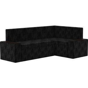 Купить со скидкой Кухонный угловой диван АртМебель Остин микровельвет черный правый угол