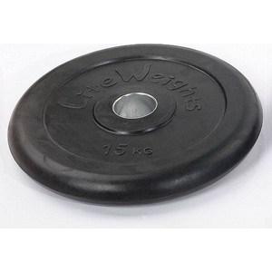 Диск обрезиненный Lite Weights RJ1050 черный (d-51mm 15кг с металлической втулкой) цена