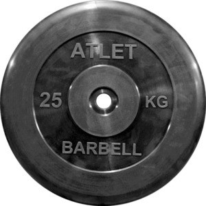 Диск обрезиненный Atlet черный d-31 25кг