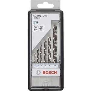 Набор сверл по металлу Bosch 2.0-8.0мм 6шт HSS-G Robust Line (2.607.010.529)