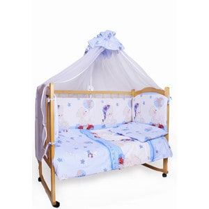 Комплект детского постельного белья AmaroBaby 7-ми предметный Мишкин сон, поплин,голубой