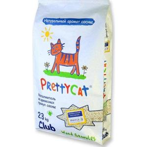 Наполнитель PrettyCat Wood Granules впитывающий древесный с ароматом сосны для кошек 23кг Club