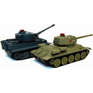 Радиоуправляемый танковый бой Huan Qi Т34 и Tiger масштаб 1:28 RTR