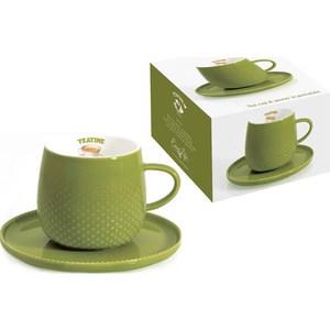 Чашка с блюдцем Easy Life (R2S) Капли дождя тёмно-зелёная (R2S1307_RATE-AL)
