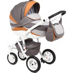 Коляска 2 в 1 Adamex Barletta New серый/серый принт/оранжевый B-31 GL000502498 цена