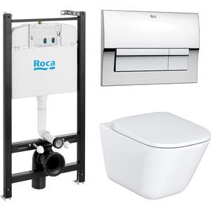 Комплект Roca Gap Duplo WC унитаз с микролифтом + инсталляция, кнопка хром (893104100)