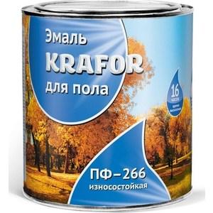 Эмаль для пола KRAFOR ПФ-266 износостойкая красно-коричневая 20кг. цены