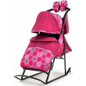 Санки-коляска Kristy Comfort Plus 3B + BK (бордо/круги) (1374002/1373998) санки коляска kristy comfort plus 3в вк голубой зоопарк
