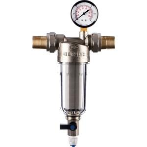 Фильтр предварительной очистки Гейзер Бастион 112 3/4 (с манометром, для холодной воды, d60) (32671)
