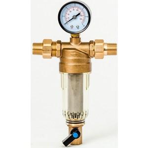 Фильтр предварительной очистки Гейзер Бастион 7508165233 (1/2 для холодной воды, с манометром d53) (32676)