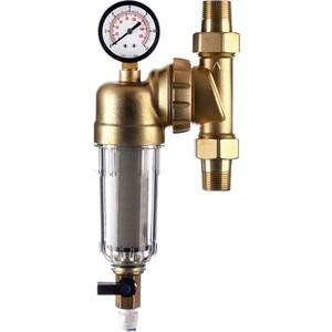 Фильтр предварительной очистки Гейзер Бастион 7508095233 (3/4 для холодной воды, с манометром d60) (32678)