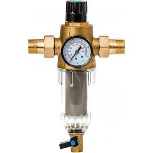 Фильтр предварительной очистки Гейзер Бастион 7508075233 (3/4 для холодной воды, с регулятором давления, с манометром d60) (32680) цена и фото