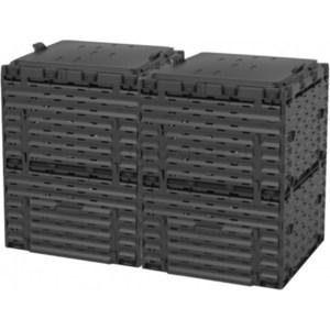 Компостер садовый Piteco 600л с крышкой K1130 чёрный (из 2-х мест) биотуалет piteco 400 отзывы