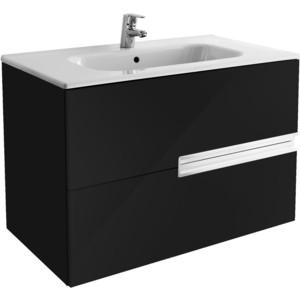 Тумба с раковиной Roca Victoria Nord Black Edition 80 черный глянец (ZRU9000097 + 32799C000)
