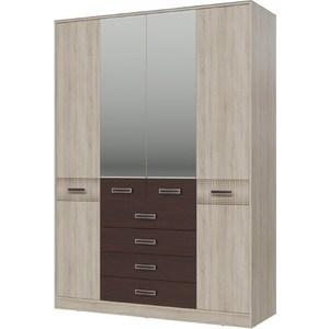 Шкаф 4-х дверный с ящиками Гранд Кволити Румба 4-4817 дуб сонома/венге