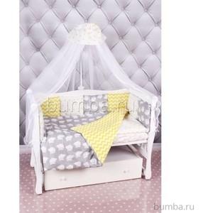 Комплект постельного белья AmaroBaby 18 предметов (6+12 подушек-бортиков) Совята (бязь, желтый-серый)