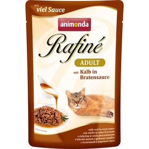 Паучи Animonda Rafine Adult with Veal in Roast Sauce с телятиной в жареном соусе для кошек 100г (83791)