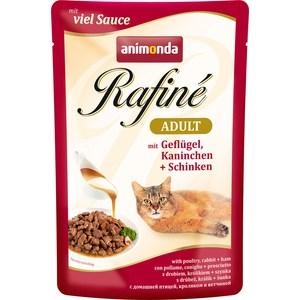 Паучи Animonda Rafine Adult with Poultry, Rabbit + Ham с мяса домашней птицей, кроликом и ветчиной для кошек 100г (83790)