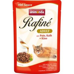 Паучи Animonda Rafine Adult with Turkey, Veal + Cheese с индейкой, телятиной и сыром для кошек 100г (83789)