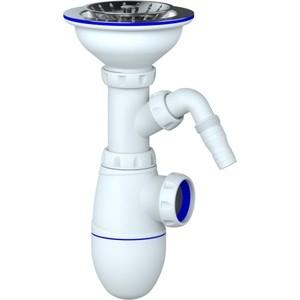 Сифон для кухонной мойки Unicorn D40 чашка из нержавеющей стали D115, штуцер, без отвода в канализацию (B432V)