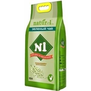 Наполнитель N1 NATUReL Зеленый чай древесный комкующийся с ароматом зеленого чая для кошек 17,5л