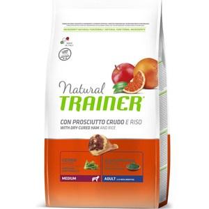 все цены на Сухой корм Trainer Natural Medium Adult with Dry-Cured Ham and Rice с сыровяленой ветчиной и рисом для взрослых собак средних пород 3кг онлайн