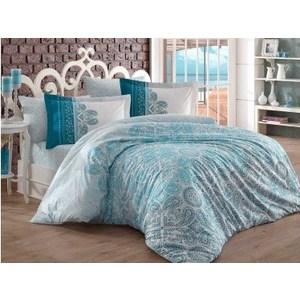 цена на Комплект постельного белья Hobby home collection Евро, поплин Irene бирюзовый