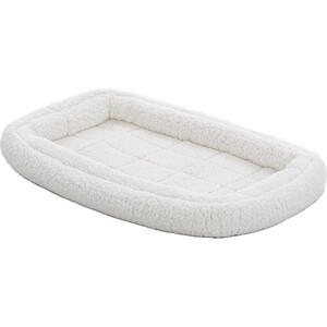 Лежанка Midwest Quiet Time Deluxe Fleece Double Bolster Bed 18'' флисовая с двойным бортом 43х28 см белая для кошек и собак Quiet Time Deluxe Fleece Double Bolster Bed 18