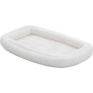 Лежанка Midwest Quiet Time Deluxe Fleece Double Bolster Bed 22 флисовая с двойным бортом 53х30 см белая для кошек и собак