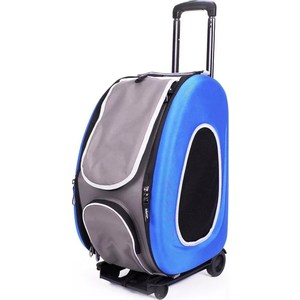 Сумка-тележка Ibiyaya складная синяя 3 в 1 (сумка, рюкзак, тележка) для собак до 8 кг (FC1008-B)