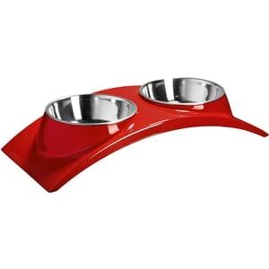 Миска SuperDesign Melamine Rainbow Dinner SET S Red двойная на меламиновой подставке Элеганс красная для кошек и собак 2х160мл